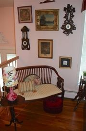Art, Wall Gauges, Settee, Small Pedestal Side Table, Table Lamp and Accent Pillows