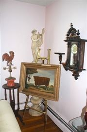 Easel, Art, Sculptural Piece and Pedestal with Wall Shelf and Clock
