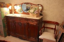 Server with Marble Top and Mirror