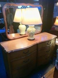 Vintage curved front dresser with mirror