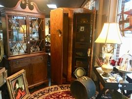 Antique furniture, luggage, framed art, lamps, collectibles