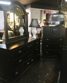 Black Dresser w/ mirror and silver pulls