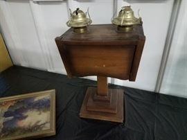 Two Burner Kerosene lamp with wood base