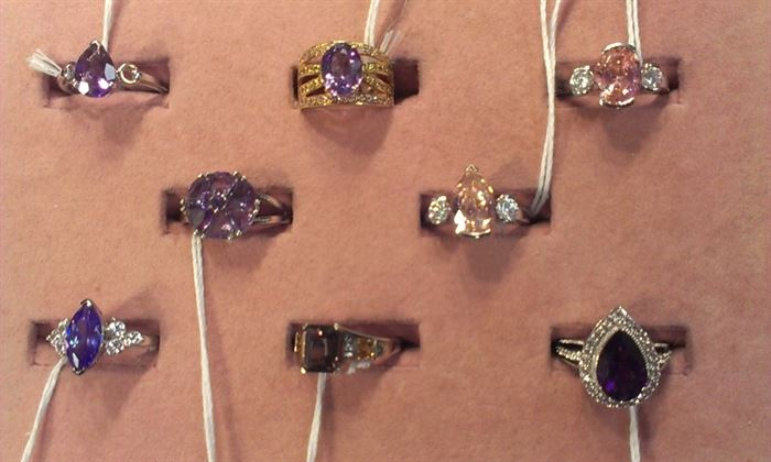 closeup of gemstone sterling rings, various sizes