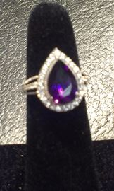 Amethyst gemstone & cz's PRESIDIUM tested, sterling