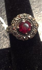 Red Garnet gemstone PRESIDIUM tested w marcasites, sterling