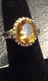 Citrine gemstone, cz's PRESIDIUM tested, sterling