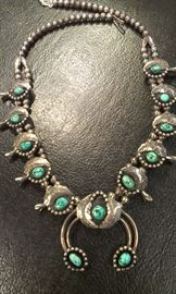 VTG Sterling Navajo Turquoise Squash  Blossom necklace, huge/heavy, signed, the REAL deal unisex