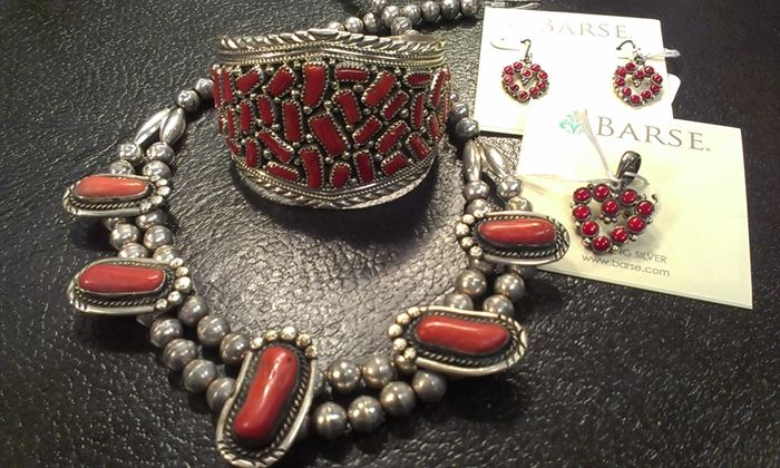 Navajo sterling VTG coral necklace, cuff, earrings & pendant