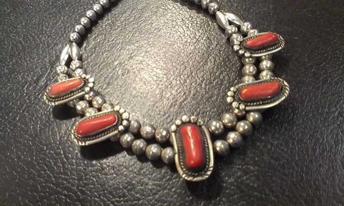 Awesome Navajo sterling heavy necklace, truly vintage