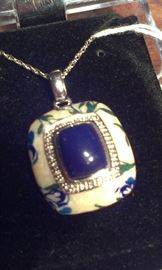 Lapis Diamonds PRESIDIUM tested enamel sterling pendent w 925 chain, VERY unusual