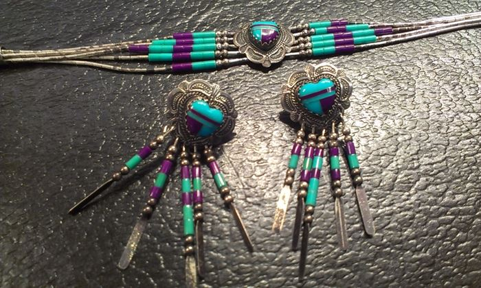 Navajo Zuni sterling turquoise & Arizona copper purple turquoise delicate  bracelet & earrings