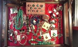 SELECTION OF NAVAJO  STERLING:  turquoise, lapis, coral, onyx, squash blossoms, cuffs, rings & earrings...