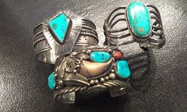 NAVAJO STERLING CUFFS:  vintage turquoise & coral + MORE TO COME after Features
