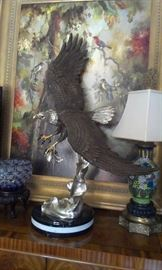 "BRONZE HOTCAST: ARNADIA  Swooping Eagle 38""tall, marble base, beyond impressive!!! + MORE TO COME after Features"