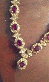 closeup  of rubies & diamonds all set in 14k ygold