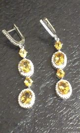 "Citrine gemstones w cz's PRESIDIUM tested, 2"" l earrings, sterling"