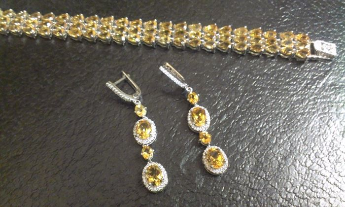 "Citrine (72) teardrop gemstones, PRESIDIUM tested, 1/2"" width bracelet w matching earrings, sterling  ea sold separately..."