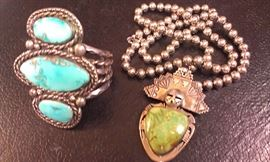 STERLING Navajo turquoise cuff & Hopi Hemis Kachina pendent necklace...WOW!!!