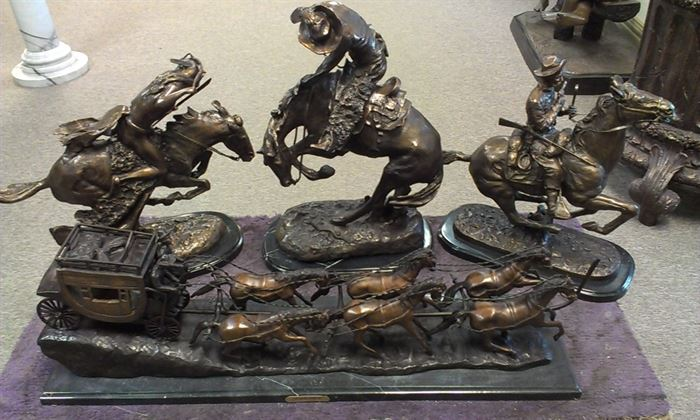 Trio of REMINGTONS Bronze hotcast & RUSSELL Stagecoach, (FULL sizes!!!)...see  MAIN ATTRACTIONS after Features for details (NO minis here:)