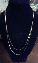 "14kt white gold single chain, 18"" doubled for photo"