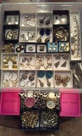 Costume jewelry 32 pieces all bought together as one purchase: 2 pair 925 earrings, 2 Betsy Johnson working watches, Monet buttefly pin and remaining costume jewelry + MORE TO COME after Features