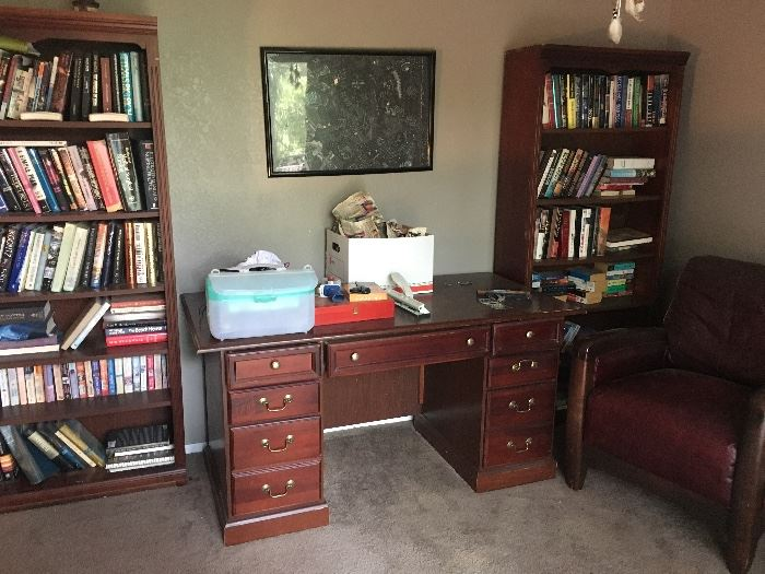 Elegant Vintage Office Furniture, lots of quality books