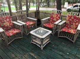 One of several porch furniture sets