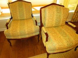 pair of Baker club chairs in Brunshwig & Fils fabric