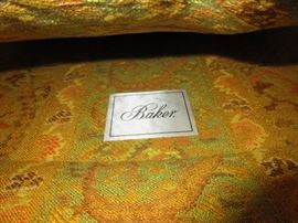 detail of pair of Baker club chairs in Brunshwig & Fils fabric