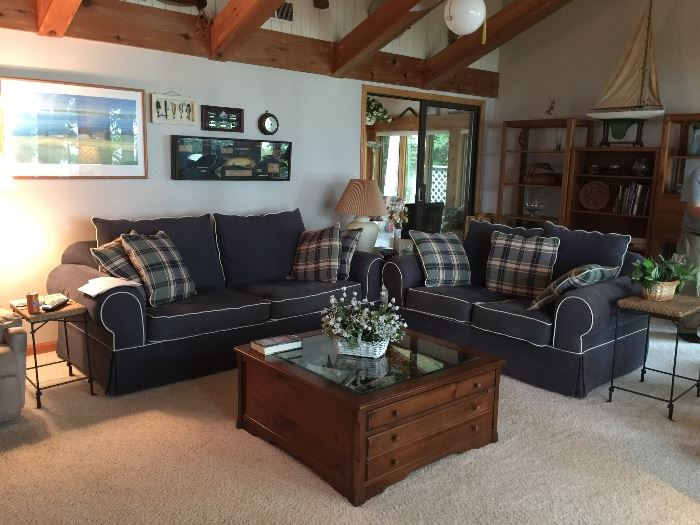 Navy Blue Sofa Bed and Love Seat