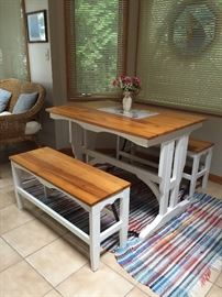 1930's Table with Foldable/Slidable Benches.  Completed refinished!