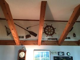 Nautical Decorative items including Ships wheel