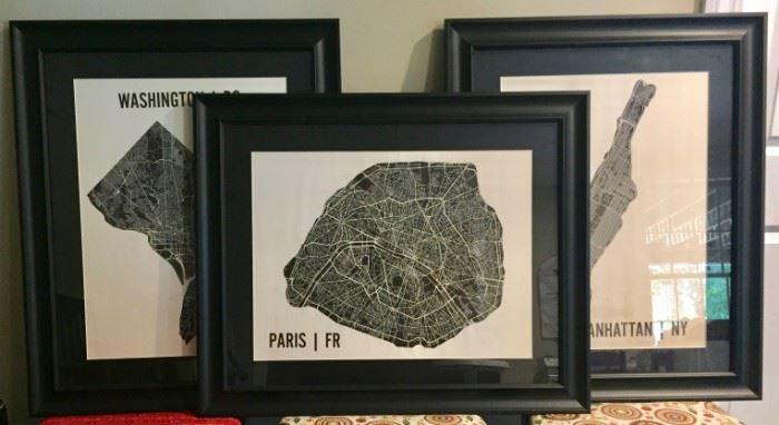 Framed City Map Art