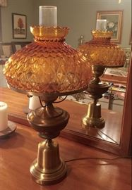 Amber Glass Lamp, Two Available