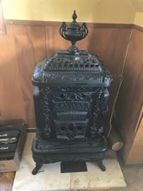 Antique Red Cross Sylvan Cast Iron Parlor Stove
