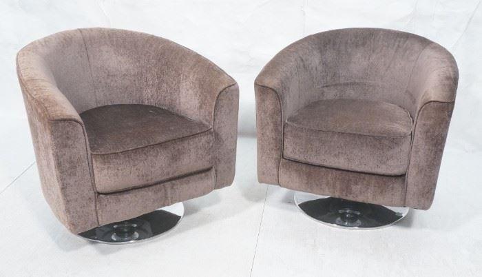Lot 4 Pr Modernist Barrel Back Lounge Chairs Chrome Bas