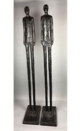 Lot 9 Pr Tall Thin Man Modernist Metal Sculptures. Elon