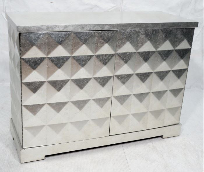 Lot 12 BAKER Silver Foil Leaf Credenza Cabinet. BARBARA