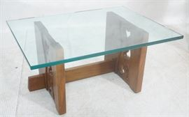 Lot 5 P WAXTER Glass Top Modernist Walnut Coffee Table.