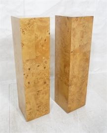 Lot 8 Pr Patchwork Burl Maple Tall Square Pedestals. Mo