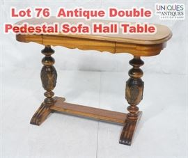 Lot 76 Antique Double Pedestal Sofa Hall Table. Scallope