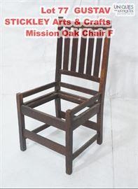 Lot 77 GUSTAV STICKLEY Arts  Crafts Mission Oak Chair F