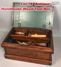 Lot 78 Antique Handmade Wood Tool Box. Dove tailed corne