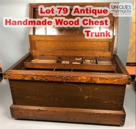 Lot 79 Antique Handmade Wood Chest Trunk. Antique screw