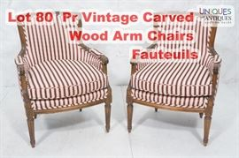 Lot 80 Pr Vintage Carved Wood Arm Chairs Fauteuils. Stri