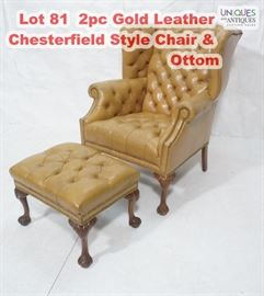Lot 81 2pc Gold Leather Chesterfield Style Chair  Ottom