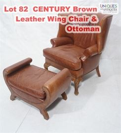 Lot 82 CENTURY Brown Leather Wing Chair  Ottoman. Wide