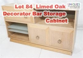 Lot 84 Limed Oak Decorator Bar Storage Cabinet. Art Deco