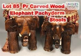 Lot 85 Pr Carved Wood Elephant Pachyderm Stools. Figural